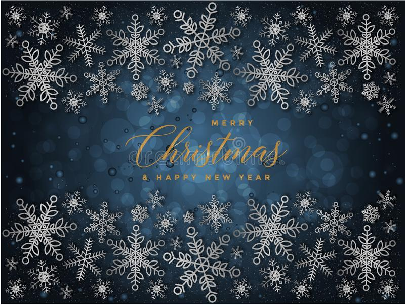 Blue and Golden Christmas background with Text Merry Christmas and Happy new year illustration vector illustration