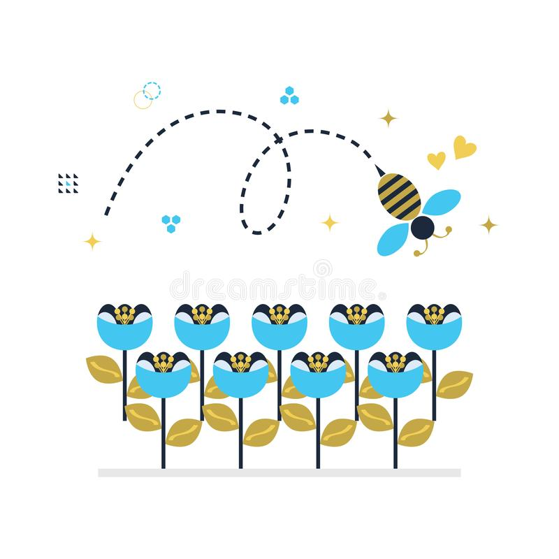 Blue and golden top view flying honey bee icon with signs and symbols royalty free illustration