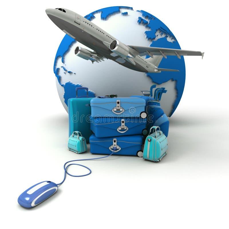 Blue golf trip flight booking royalty free illustration