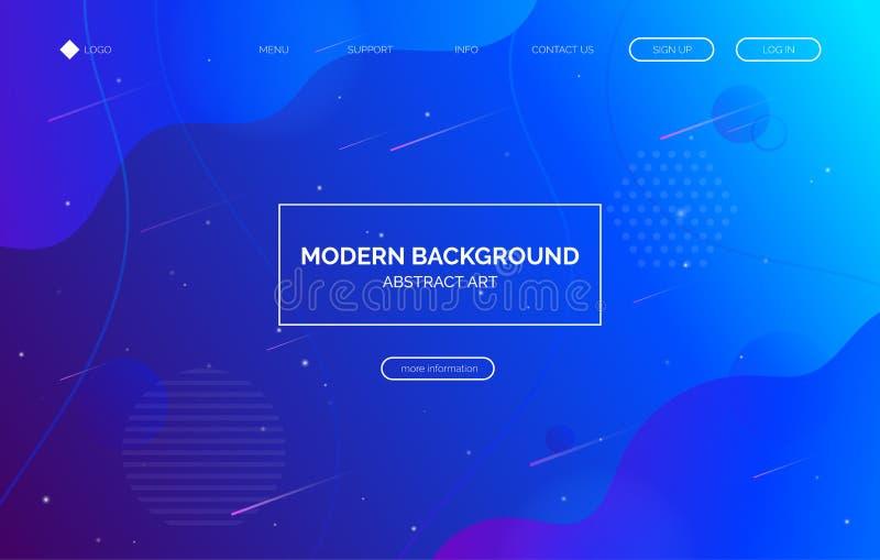 Blue gradient fluid background, banner for presentation, landing page, web site. stock illustration