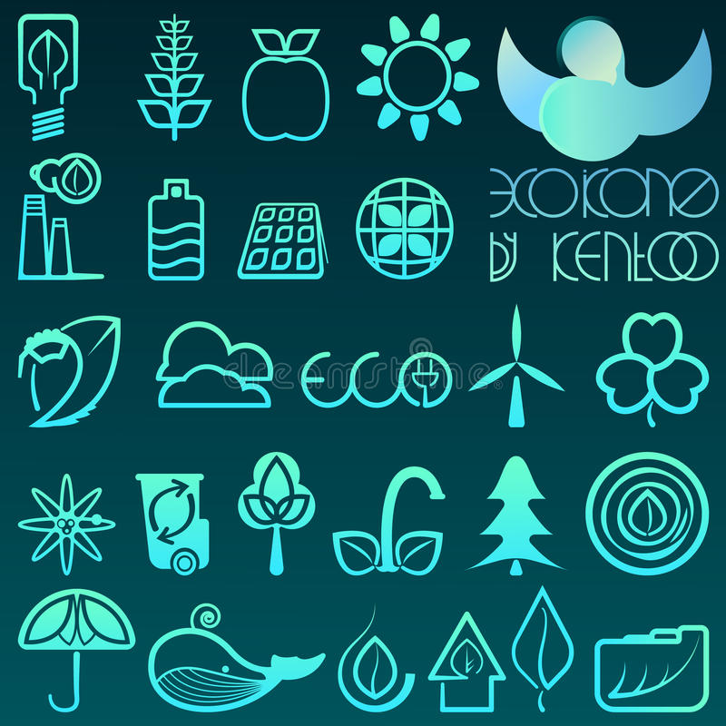 Blue gradient outline eco icons. stock photos