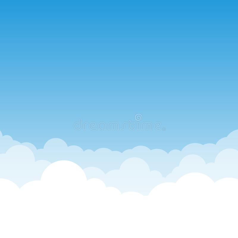 Blue gradient Sky and Clouds vector illustration with air effect. royalty free illustration