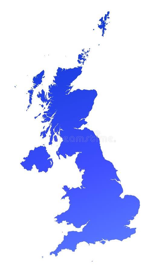 Download Blue gradient UK map stock illustration. Image of detailed - 3881277