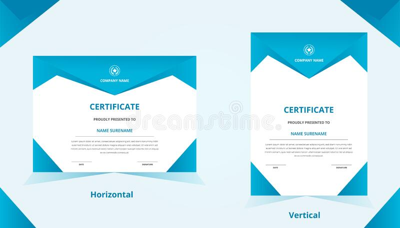 Blue gradient vertical & horizontal certificate template with luxury badge and modern shape. For award and education stock photography