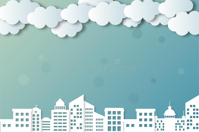 Vector clouds and cities. Blue gradients, backgrounds, s, white clouds and cities royalty free illustration