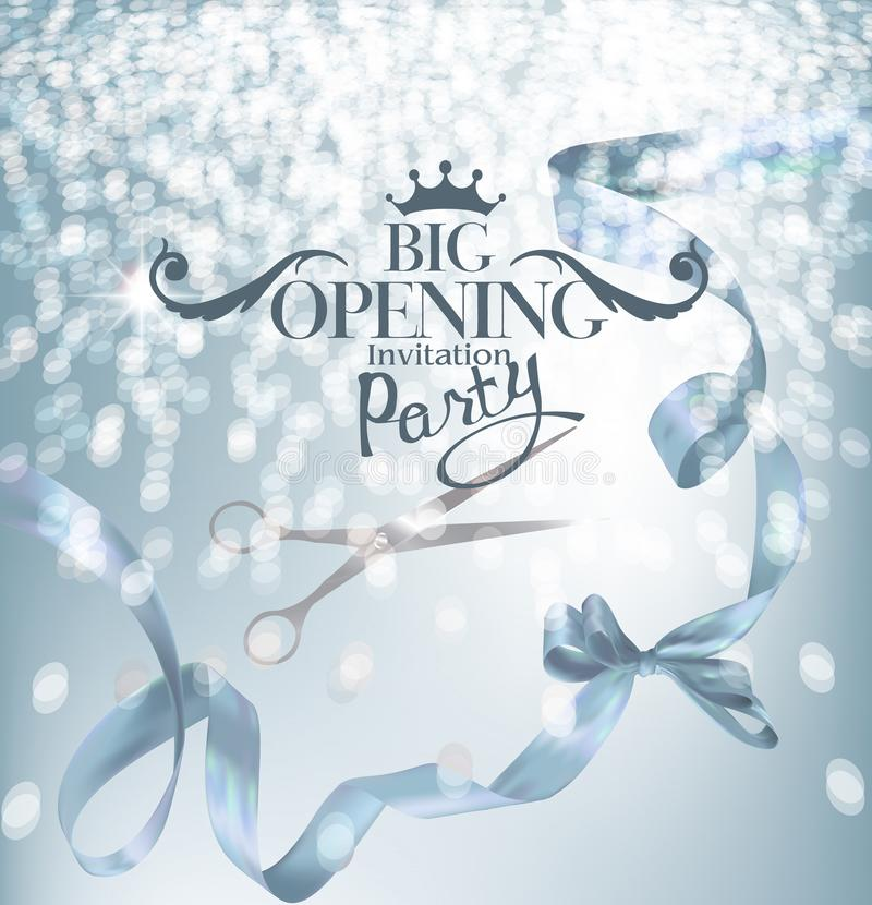 Blue grand opening party banner with curly silk ribbons and hokeh. Vector illustration royalty free illustration