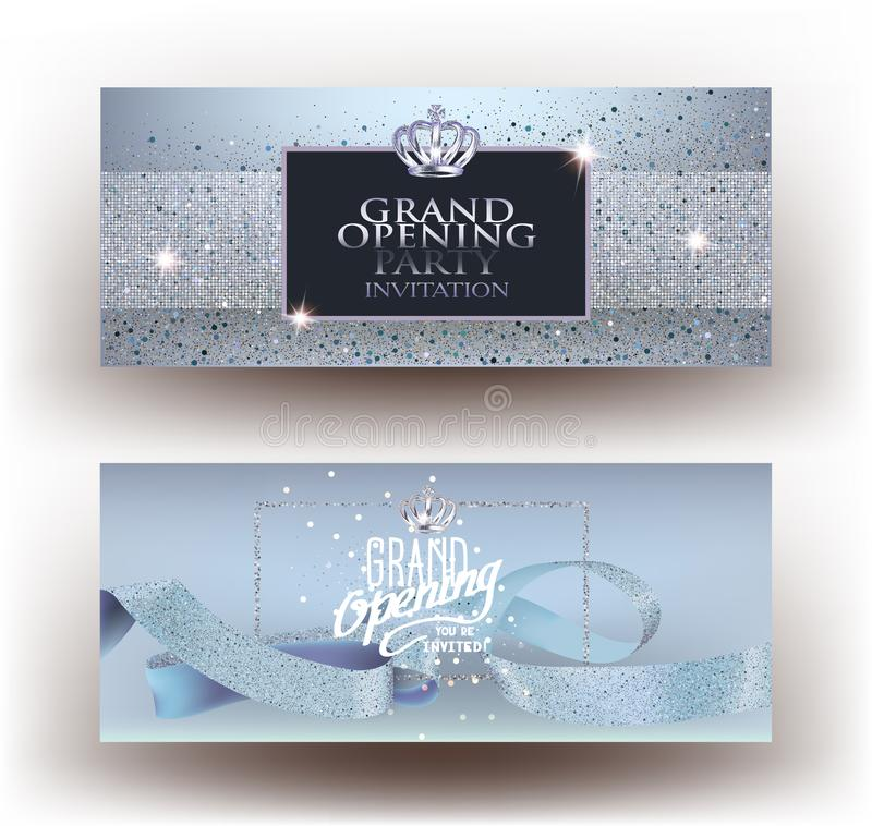 Blue grand opening party invitation cards with sparkling dust, frame and ribbon. vector illustration