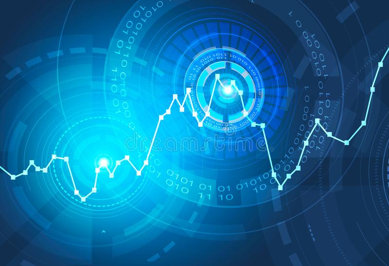 Blue graph and hud interface. Glowing blue graph and immersive HUD interface over blue background. Concept of stock market and fintech. 3d rendering toned image vector illustration