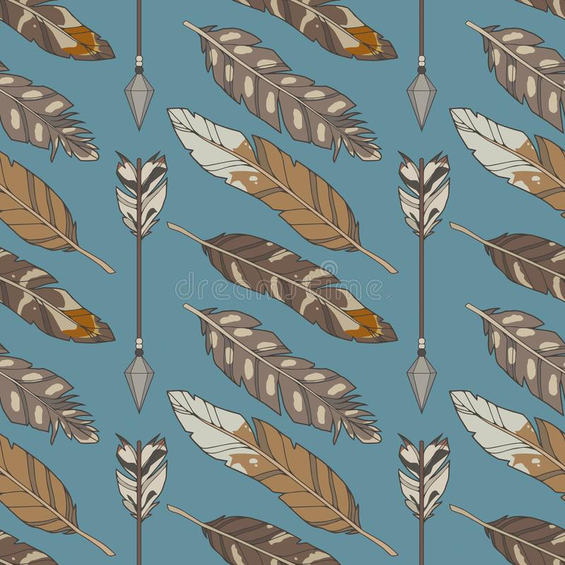Blue graphic illustration seamless boho and ethno pattern with natural eagle feathers and arrows vector illustration