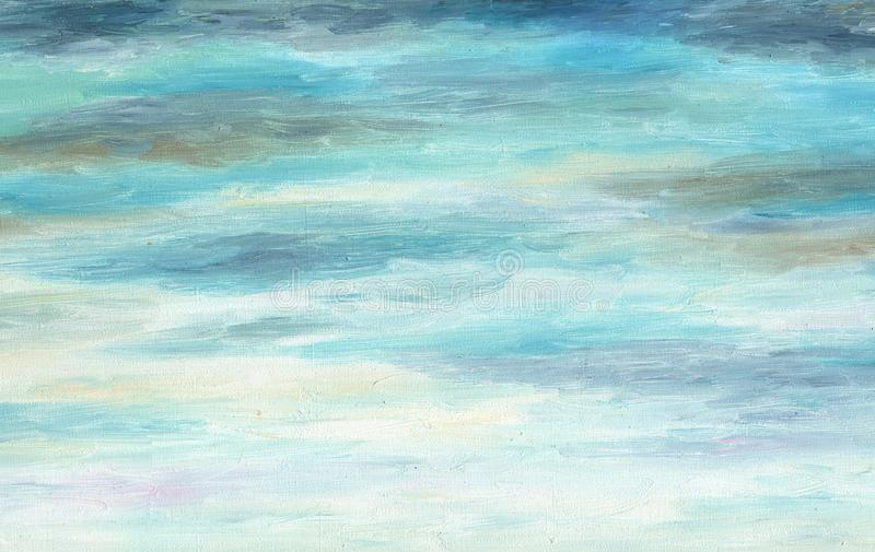 Blue and gray clean background. Oil painting on canvas. Blue and gray clean background. Autumn cloudy sky. Uniform texture. Oil painting on canvas stock illustration