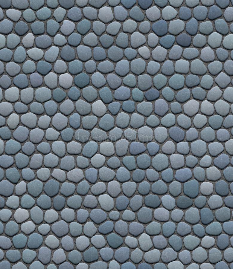 Blue, gray cobblestone pavement seamless repeatable texture. Illustration, road, rock texture stock images