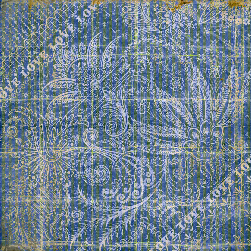 Blue and gray floral vintage grungy background stock image