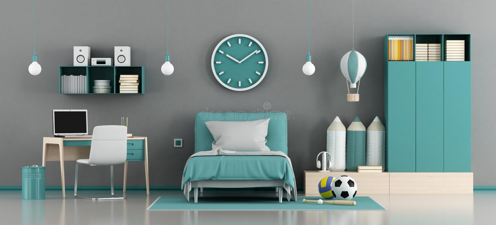 Blue and gray kids room royalty free illustration