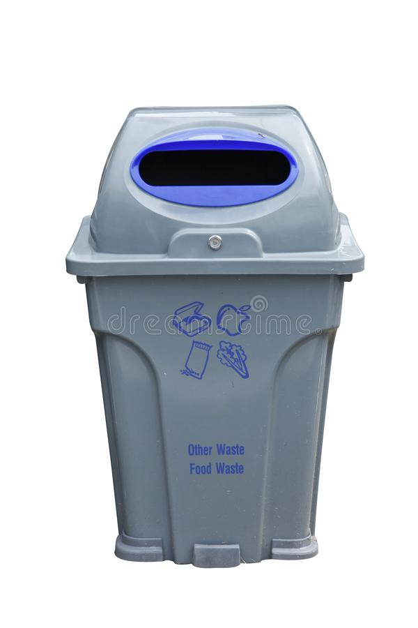 Blue and gray recycle bins with recycle symbol on white background. Blue and gray recycle bins with recycle symbol isolated on white background royalty free stock image