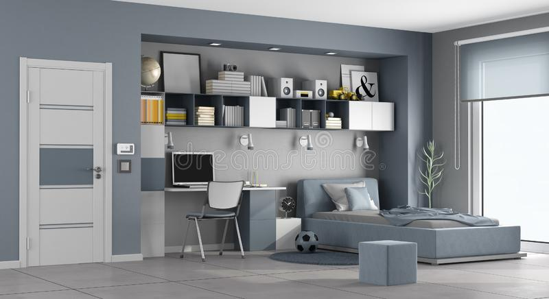 Blue and gray teen room royalty free illustration