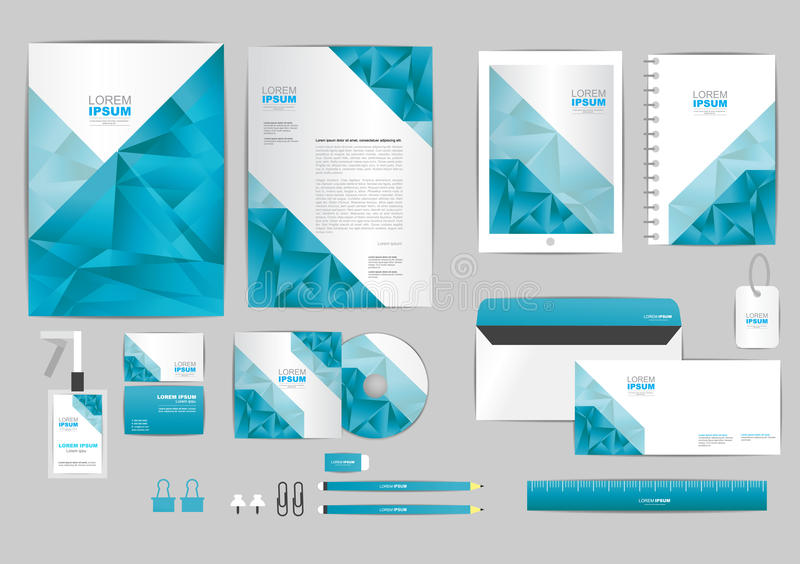 Blue And Gray With Triangle Corporate Identity Template