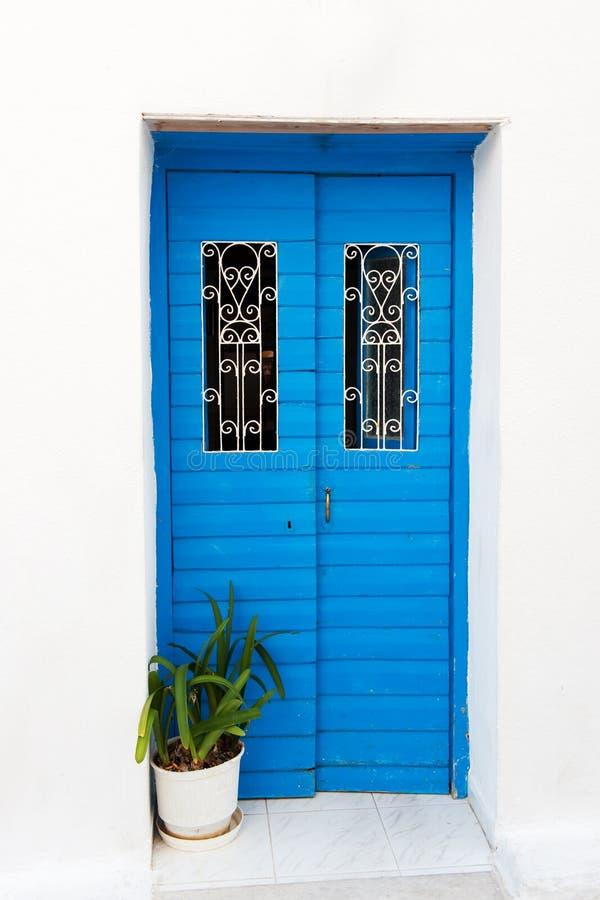 Blue Greek door royalty free stock photography