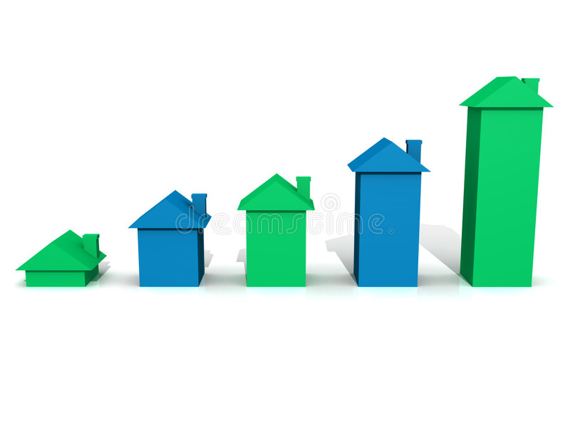 Download Blue & Green 3D House Graph Royalty Free Stock Photos - Image: 5949478