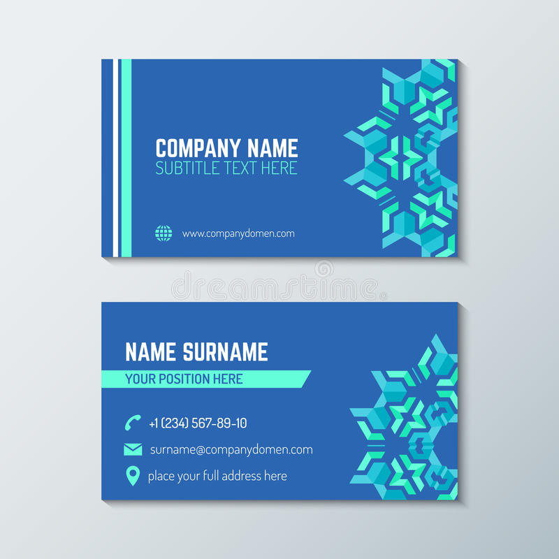 Blue Green Abstract Business Card Template Stock Vector - Front and back business card template