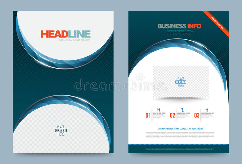 Blue green Annual report brochure flyer design template stock illustration