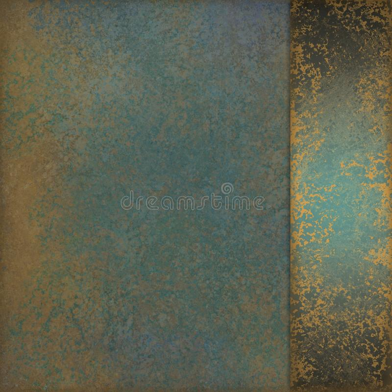 Blue green background with old marbled gold texture design and sidepanel ribbon. Elegant vintage background layout with marbled teal blue green color with gold royalty free stock images