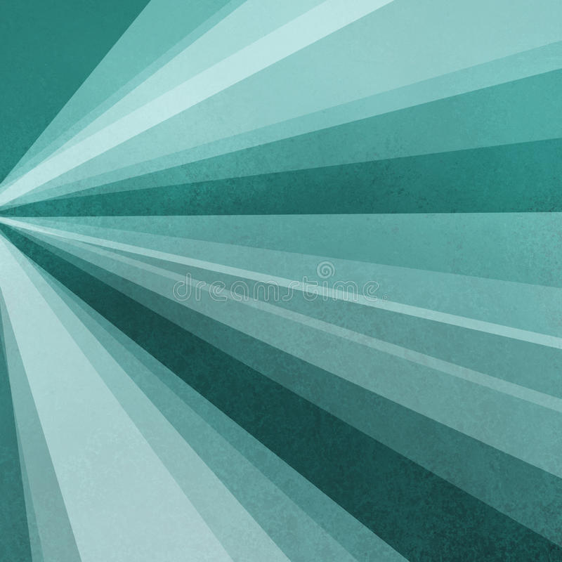 Blue green background paper with abstract sunburst design of rays or beams of sunshine light in radial striped lines on border stock illustration