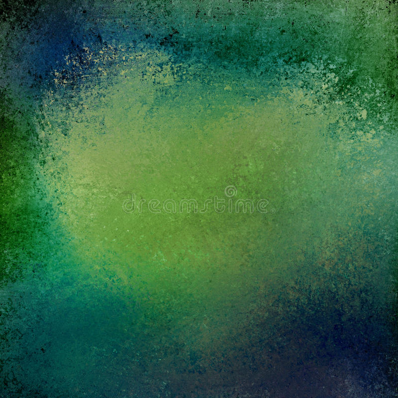 Blue and green background with vintage grunge textured border. Abstract green background with dark blue color splash design on border with messy painted vintage royalty free illustration