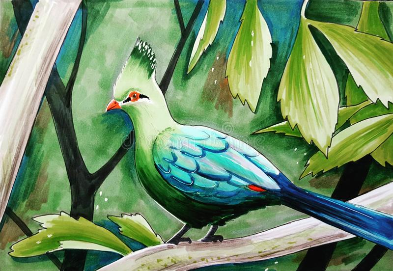 Blue-green bird with the crest in the tropical forest vector illustration