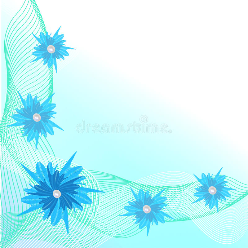Blue and green border with a stylized floral ornament stock illustration