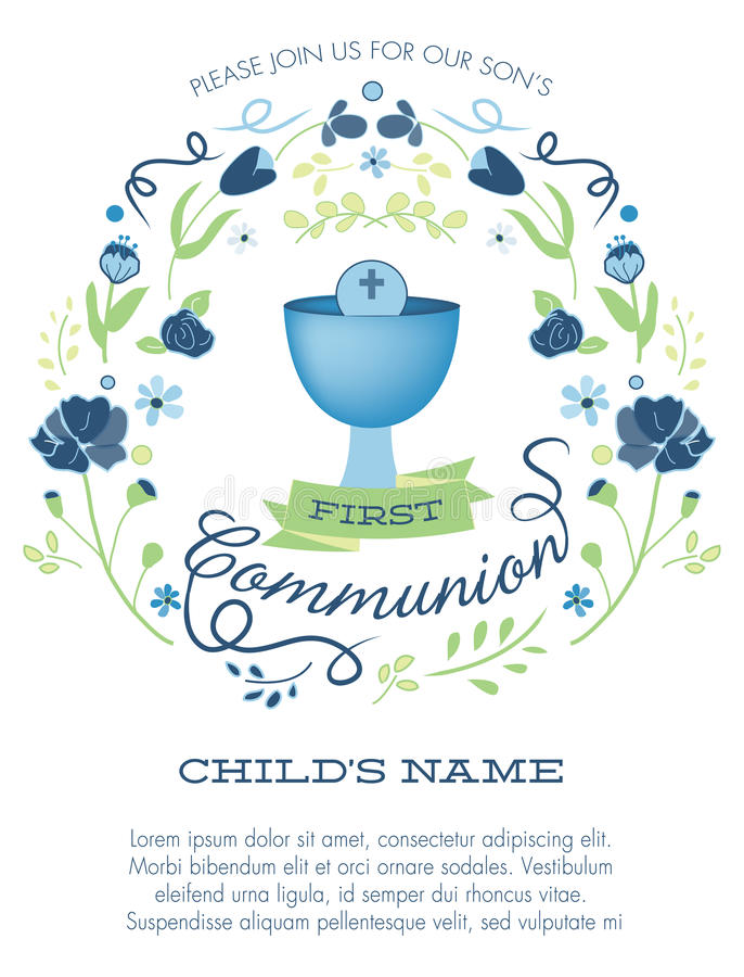 Blue and Green Boys First Holy Communion Invitation with Chalice and Flowers stock illustration