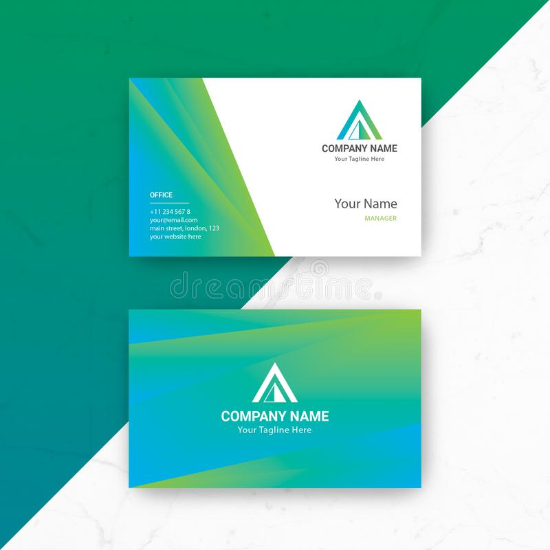 Blue Green Business Card Vector Template stock photos