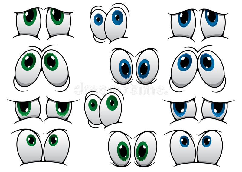 Blue and green cartoon eyes stock illustration