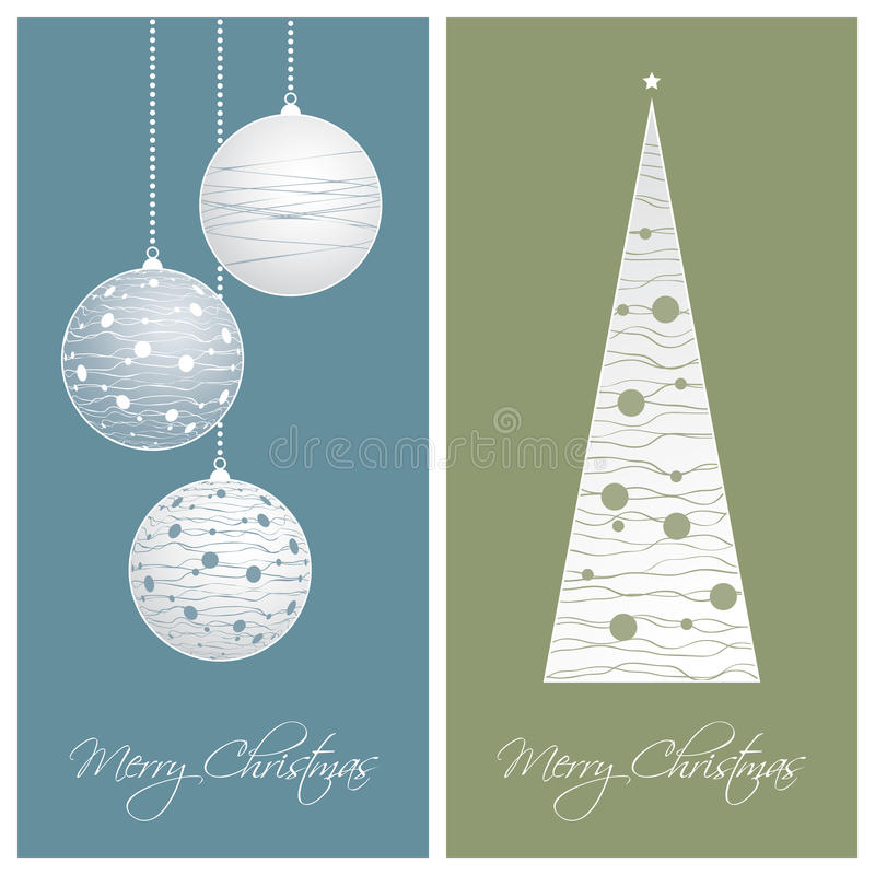 Blue and green christmas card backgrounds royalty free illustration