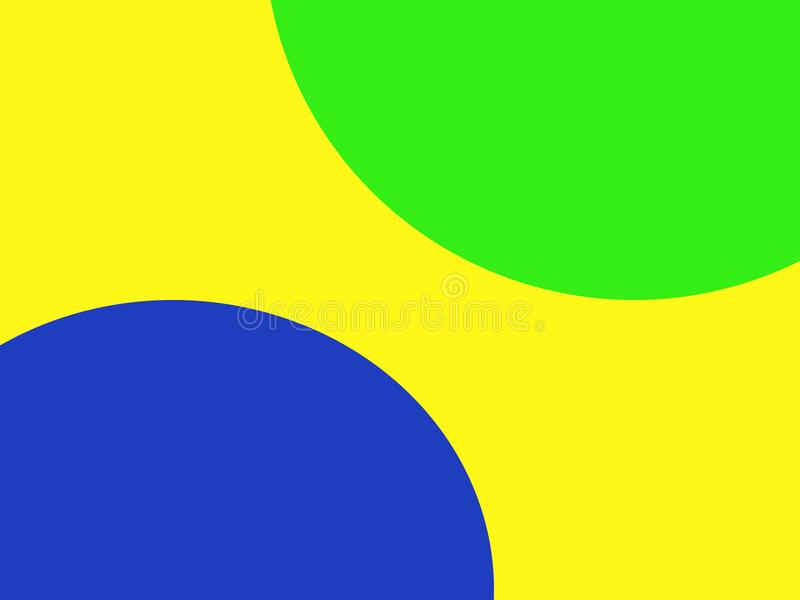Blue and green circle on a yellow background stock photos