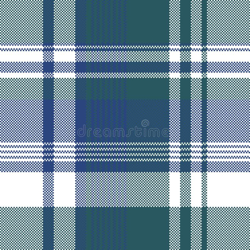 Blue green color pixel plaid seamless pattern royalty free illustration