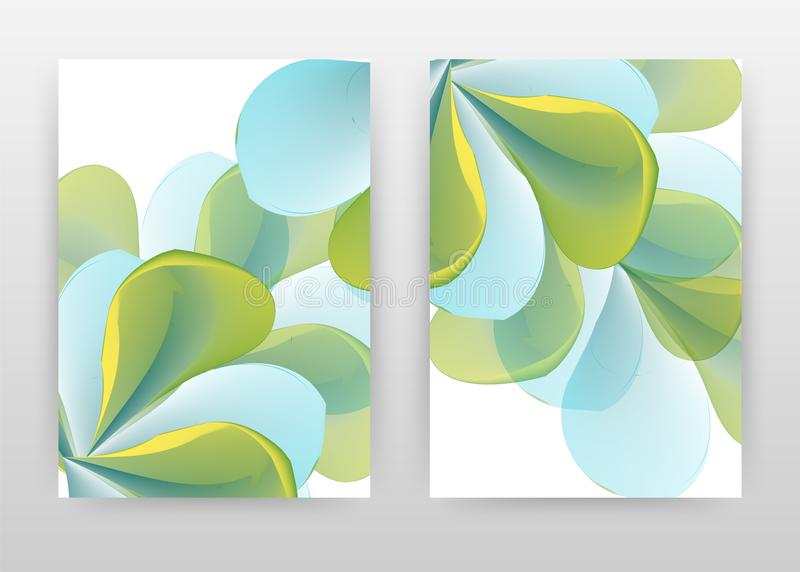 Blue green concept abstract design of annual report, brochure, flyer, poster. Blue green flower concept background vector stock illustration