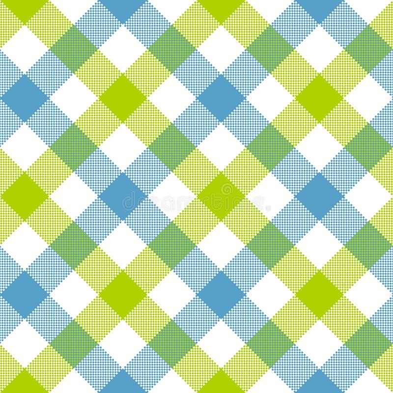 Blue green diagonal checkered plaid seamless pattern vector illustration