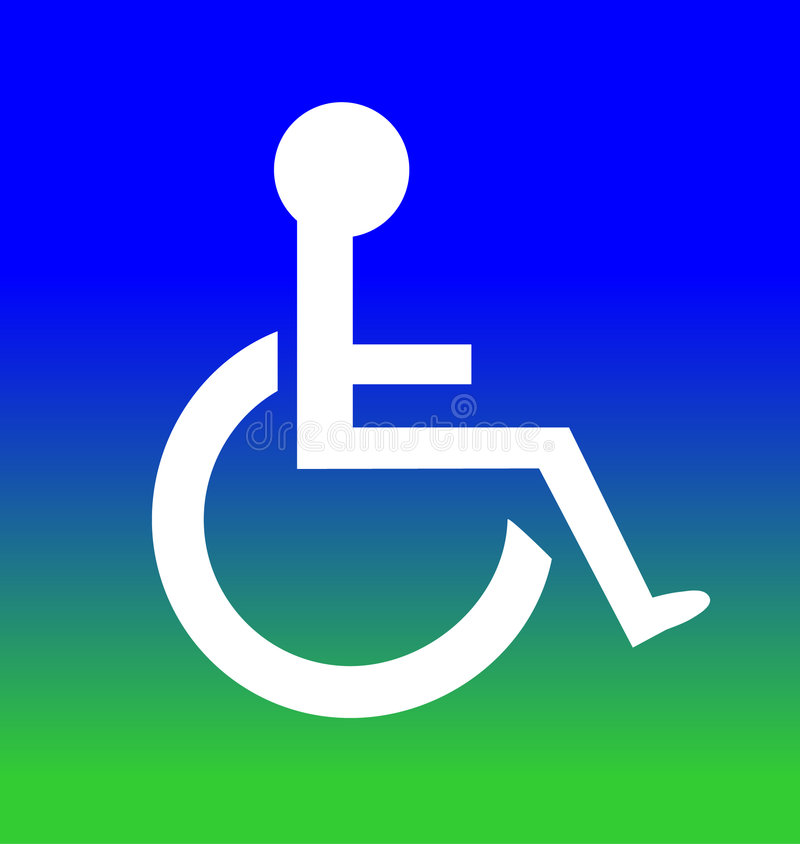 Blue Green Disabled Symbol Royalty Free Stock Images