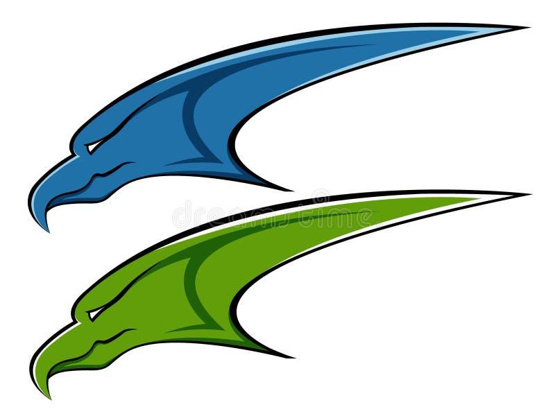 Blue and green eagle logo royalty free illustration