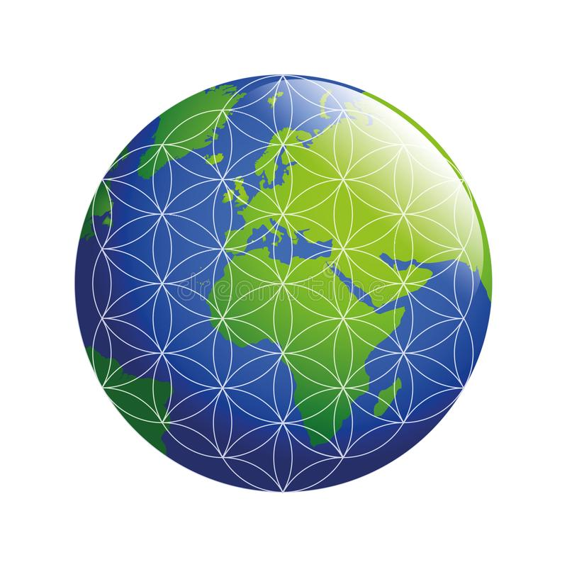 Blue and green earth with flower of life stock illustration
