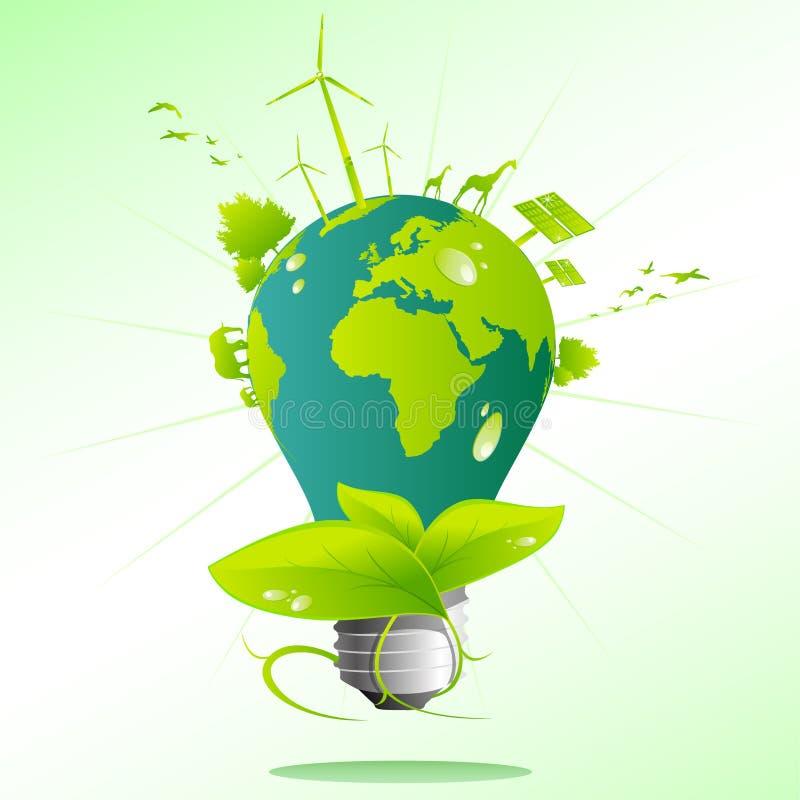 Blue green Earth light bulb vector illustration
