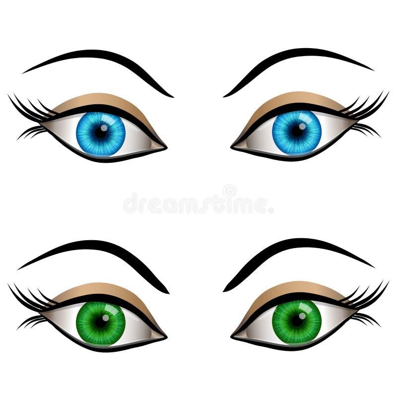 Blue and green female eyes. Set of cartoon female eyes blue and green colors royalty free illustration