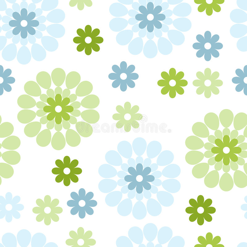 Blue and green flowers royalty free illustration