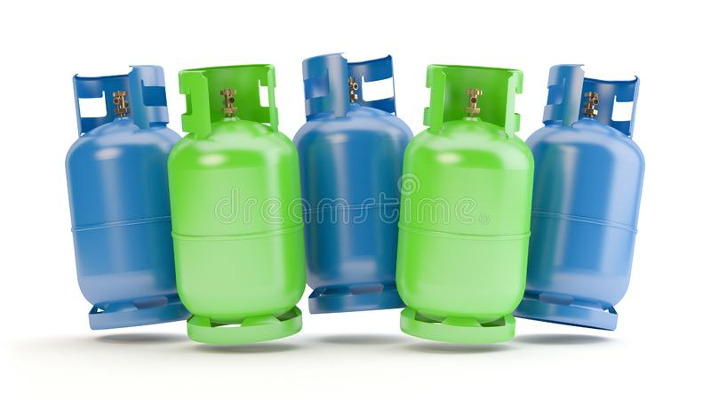 Blue and green gas bottles, 3D illustration royalty free stock photos