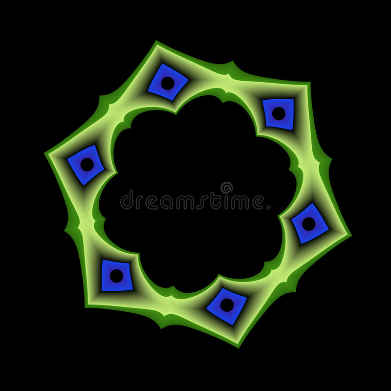 Blue and Green Geometric Frame royalty free illustration