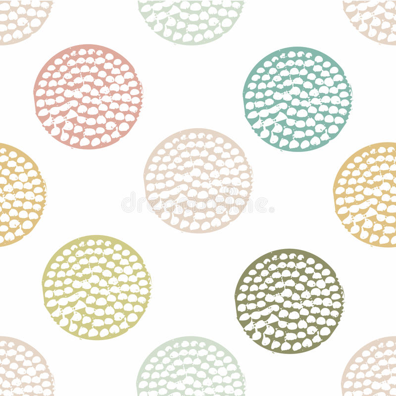 Blue, green geometric seamless pattern with grunge polka dot on white background. Textured circles. Geometrical background for wrapping paper, website vector illustration
