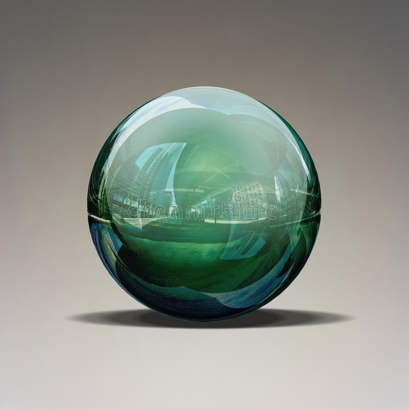 Blue green glass ball isolated on grey. stock photos