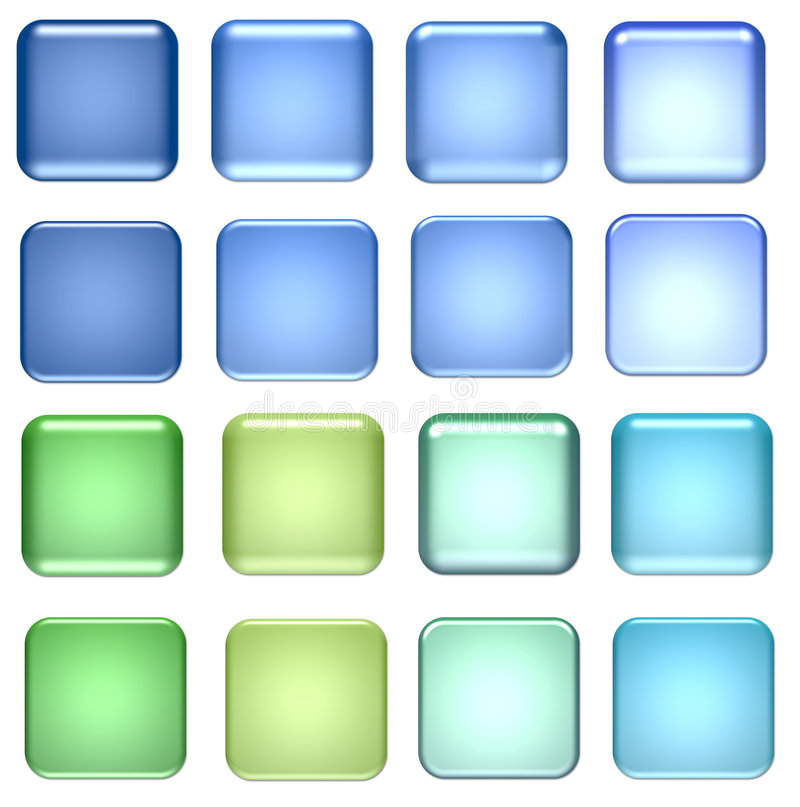 Blue and green glass buttons vector illustration