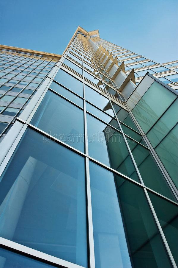 Blue and Green Glass Office Tower stock image