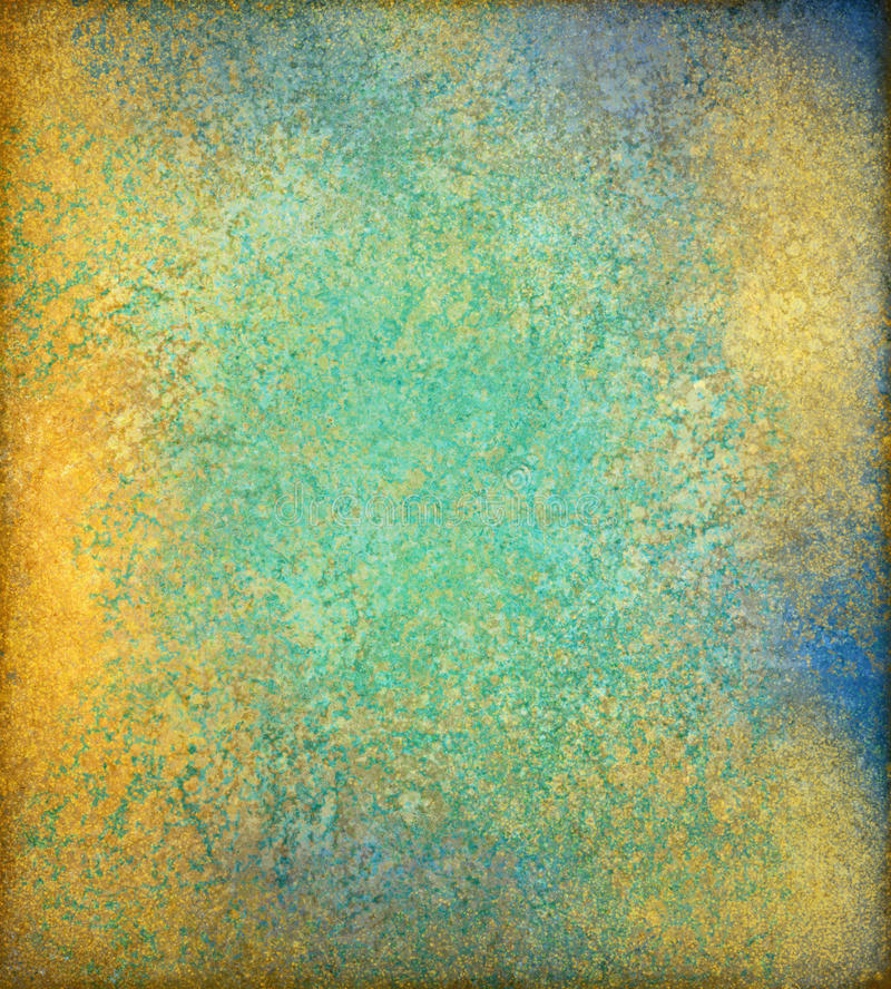 Blue green and gold vintage background design with grunge texture and luxury style. Old blue green and shiny gold background with dirty grunge textured borders royalty free illustration
